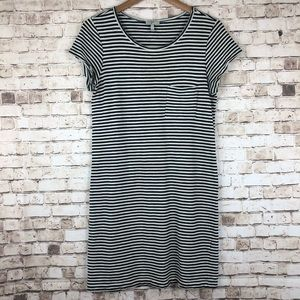 Joie Striped Pocket Dress Black And White